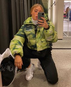 Tie Dye Green Puffer Jacket from Little luxe Fashion Mode Outfits, Trendy Outfits, Fashion Outfits, Fashion Tips, Tomboy Outfits, Fashion Styles, Fashion Skirts, Jeans Fashion, Summer Fashion Trends