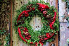 Christmas wreath on ancient door