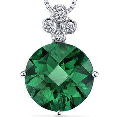 Peora.com - 14 Kt White Gold 3 cts Emerald and Diamond Pendant P8434, $214.99 (http://www.peora.com/14-kt-white-gold-3-cts-emerald-and-diamond-pendant-p8434/)