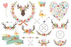 Antler Clipart Banner Floral Wreath by CutePaperStudio on @creativemarket