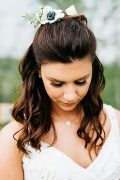Elegant bridal hair + makeup idea - half-back with loose curls and flowers in hair {Lauren Love Photography}