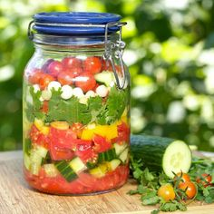 Garden gazpacho in a jar. Just blend, and serve! From Apron Strings (on Soup Chick)..