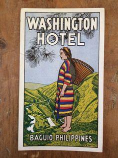 WASHINGTON HOTEL Baguio Philippines WOMAN Vintage 1920's 1930's LUGGAGE LABEL