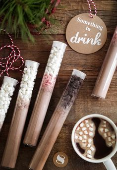 """Vegan DIY Instant Hot Cocoa Mix // As emergency hot cocoa """"injections"""" these fun hot cocoa tubes are the perfect gifts for anyone with a chocolate obsession. Edible Christmas Gifts, Edible Gifts, Christmas Treats, Vegan Christmas, Christmas Diy, Christmas Decorations, Last Minute Christmas Gifts, Xmas, Christmas Markets"""