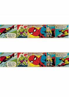 Marvel Comic Avengers Wallpaper Border part of our Super Hero range at Children's Rooms ... http://www.childrens-rooms.co.uk/marvel-comic-avengers-wallpaper-border.html #kidsbedroomsideas #kidswalldecor #marvelcomics #superheroes