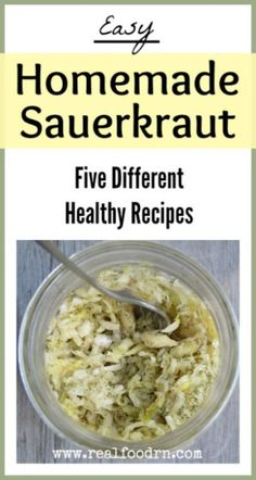 Five easy and healthy sauerkraut recipes that take minutes to make. Now you can always have this healthy probiotic food on hand in your kitchen! Sauerkraut Recipes, Cabbage Recipes, Kombucha, Fermentation Recipes, Canning Recipes, Probiotic Foods, Fermented Foods, Sauces, Gourmet