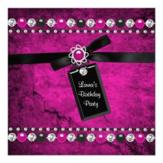Black Hot Pink Girls Birthday Party Invitations 9th Parties 10th