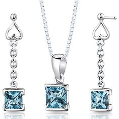 Swiss Blue Topaz Pendant Earrings Necklace Sterling Silver Rhodium Nickel Finish. Swiss Blue Topaz, Deep Sky Blue Hue, Brilliant Sparkle. Pendant and Earrings are in .925 Sterling Silver and finished with Rhodium. Top Quality Craftsmanship. Exceptional Styling. 30 Day Return Policy.
