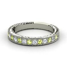Victoria Band, White Gold Ring with Peridot ... wedding ring??