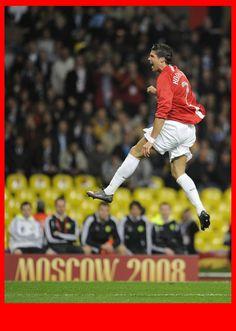 Champions League Final 2008, Chelsea v Manchester United, Luzhniki Stadium, Moscow. 21.05.08 . Cristiano Ronaldo celebrates his goal giving ...