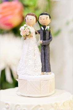 wooden bride and groom figurines cake topper