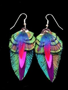 Peacock Feather Earrings  Colorful feather earrings by wildspirits, $36.00