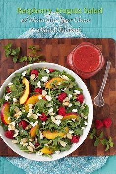 Raspberry Arugula Salad with Nectarines and Goat Cheese - thecafesucrefarine.com