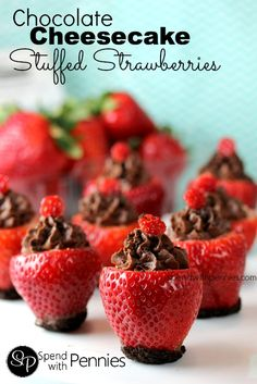 Chocolate Cheesecake Stuffed Strawberries Love it? Pin it to SAVE it! Follow Spend With Pennies on Pinterest for more great recipes! I've been making chocolate covered strawberries forever… and for the last few years we've been enjoying Cheesecake Stuffed Strawberries… so it was only a matter of time before the two came together! I have to tell you the results were amazing! Seriously amazing! These ended up being our anniversary dessert this year but I sense that I will be {Read More}