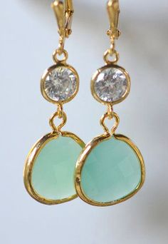 Aqua Bridemaid Earrings in Gold. Dangle Earrings