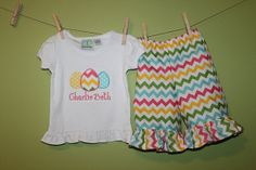 Girls Easter outfit Chevron Capris and egg trio by laurabellekids, $36.00