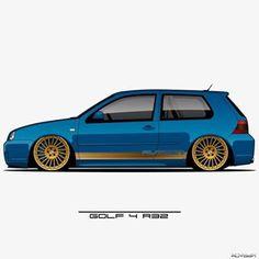 Image may contain: car Honda Cars, Vw Cars, Golf 4 R32, Vw R32 Mk4, Golf Drawing, Car Backgrounds, Street Racing Cars, Car Illustration, Car Drawings