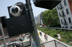 An abundance of surveillance cameras may be one reason that no serious crimes have been reported in the High Line park in Lower Manhattan. New York High Line, Linear Park, Lower Manhattan, Security Camera, Ny Times, Cameras, Crime, Public, Field Trips