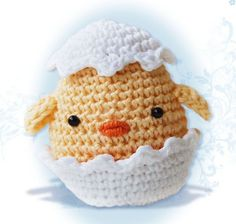 Amigurumi Chick in an Egg Shell Pattern by pepika on Etsy, $3.50