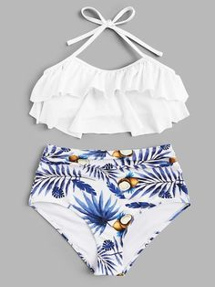 Shop Tiered Layer Top With Random Tropical Ruched Bikini online. SHEIN offers Tiered Layer Top With Random Tropical Ruched Bikini & more to fit your fashionable needs. Trendy Bikinis, Bikinis For Sale, Summer Bikinis, Cute Bikinis, Bikinis Online, Bathing Suits For Teens, Summer Bathing Suits, Cute Bathing Suits, Cute Swimsuits