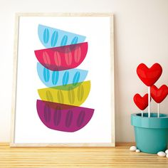Bright Bowls by Love your walls    A delicious, contemporary design, fun enough to adorn any wall! We think it would look just perfect in any kitchen or utility space.    ARTWORK SIZE: UK size A3 - US SIZE 11.7 x 16.5 inch (Size changes on request)  FILE FORMATS: Adobe Acrobat PDF & JPEG - 300dpi High Quality Images  DESIGN FORMAT: Instant download    HOW YOULL GET YOUR INSTANT DOWNLOAD: After you checkout and your payment is confirmed  Youll next be directed to your Etsy purchases page, ...