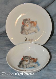 Set of 4 Cats With Birds And Plants White 5 x 5 Stoneware Decorative Square Plates