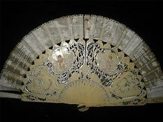 Antique-Hand-Fan-Ox-Bone-Faux-Ivory-Handpainted-Cherubs-Angels-Sequins-w-Old-Box