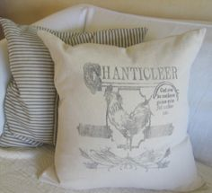 antique feed sacks | vintage french rooster feed sack pillow