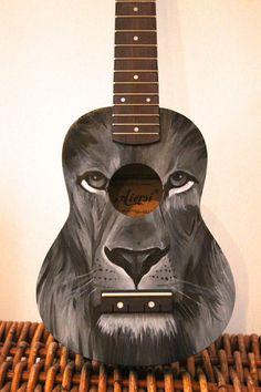 Hand Painted Ukulele Lion by OnKeyCrafts on Etsy