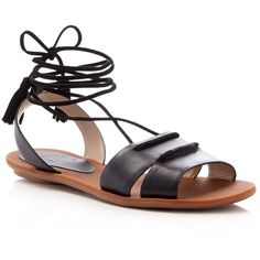 French Connection Bobbie Lace Up Flat Sandals (225 TND) ❤ liked on Polyvore featuring shoes, sandals, black, laced sandals, flat sandals, black flat sandals, boho shoes and french connection shoes