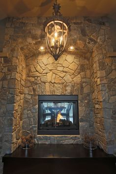 Moose Mountain Cottage Blend Thin Veneer stone from Montana Rockworks, Home built by Baywood Estate Homes #stone #thin veneer #design ideas #natural stone #fireplace #see through #interior #mosaic #random
