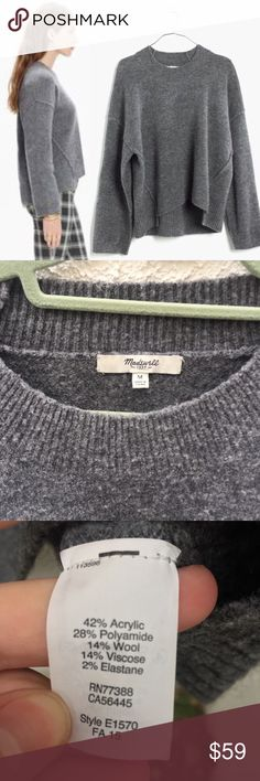 Madewell Gray Connection Pullover Sweater Size Medium. Material is a bit pilly. With raw-edged seams and a step hem, this is a fresh take on a timeless pullover shape made of an incredibly soft and light yarn with the look of boiled wool. Slightly boxy. Acrylic/poly/wool/viscose with a hint of stretch. Dry clean. Import. Madewell Sweaters Crew & Scoop Necks