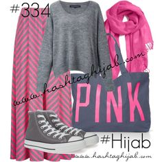 Hashtag Hijab Outfit #334 by hashtaghijab on Polyvore featuring French Connection, Converse, Victoria's Secret PINK, Halogen and hijab