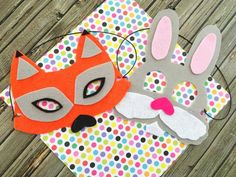 Our Zootopia Party Idea Bunny Face Mask and Fox Face Mask makes a perfect Zootopia party craft or activity for your favorite little animals
