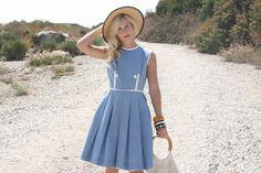 Vintage 1950s Dress / 50s Cotton Dress / Blue Pleated Dress w/ White Trim S #1950sdress #vintagedress #whendecadescollide