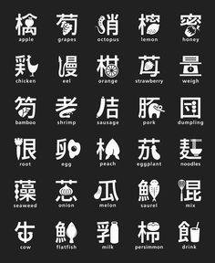 Japanese food type. Japanese Designer Masaaki Hiromura merged Japanese typography (Kanji) with signs or food symbols.