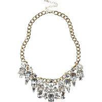 Gold tone clustered gem statement necklace