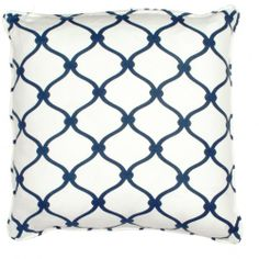 "Beautiful fence fabric design - I love the navy and white. . . . although I cringe at a 300 dollar pillow. . . this is why I'll never have ""high end"" design - but I'd love to try to recreate something similar."