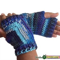 These fun mitts are reversible - wear them one way for a mitered pattern on top, or switch hands for simple stripes. If you make them in a solid color yarn, you won't get the colorful stripes, but will still see the different designs. They're so much easier than they look, and work up quickly. This may become one of your go-to patterns for gifting or craft fairs!