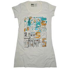 Camiseta feminina LESS CITIES, modelagem longa
