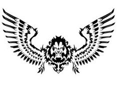 Unique Lion with Wings Tattoo Designs Wing Tattoo Designs, Tattoo Design Drawings, Simple Lion Tattoo, Tattoos Skull, Wing Tattoos, Sleeve Tattoos, Lion With Wings, Tribal Lion Tattoo, Printable Tattoos