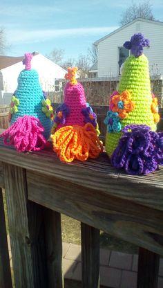 Funky Chicken Trio Crochet Amigurumi by PinkChihuahuaCrafts