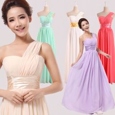 Bridesmaids dress bridesmaid long design married the bride long design women dress one shoulder dress chiffon2014new US $15.90