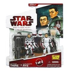 Star Wars 2009 Clone Wars Animated Action Figure 2-Pack Lieutenant Thire and Clone Trooper Rys