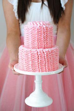 Pink Ruffle Cake // Photo by Tracey Ayton