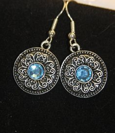 simple round silver disc blue rhinestone by hudathotjewelry, $10.00