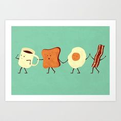 Let's All Go And Have Breakfast Art Print by Teo Zirinis - $16.00