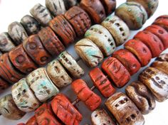 Artisan Beads..ancient urban artifacts in polymer clay by beatnheart