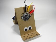 "From my book ""Bots! Real Robots, Robots For Kids, Cardboard Robot, Materials And Structures, Usb, Velcro Dots, Electronics Projects, Paper Clip, Masking Tape"