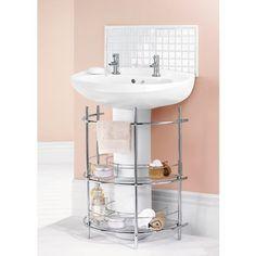 Under The Sink 2-Tier Bathroom Storage Unit - Chrome  sc 1 st  Pinterest & Organize the space under the bathroom sink | home | Pinterest ...